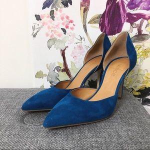 Vince Blue Suede D'Orsay Heels